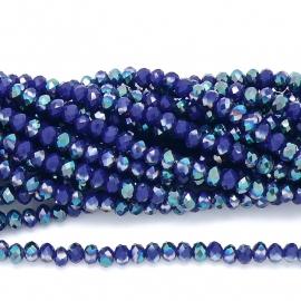 glaskraal rondel facet 4x6mm - streng van ongeveer 100 kralen (BGK-005-027) kleur dark blue diamond coating