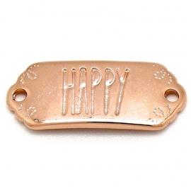 """DQ metaal ROSE GOUD tussenzetsel met tekst """"HAPPY"""" 12x30mm (B03-040-RG)"""
