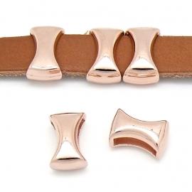 DQ metaal ROSE GOUD schuifkraal diabolo voor 10mm plat leer (B04-015-RG)