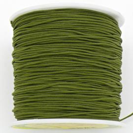 mousetailkoord 0,7mm (dun satijnkoord) - kleur olive - 5 meter (BMT-21)