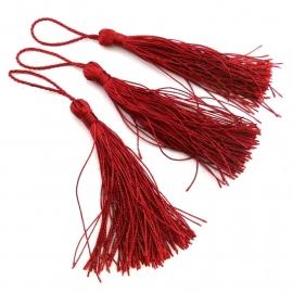 satijn kwastje 12cm lang (zelf afknippen op gewenste lengte!) kleur bordeaux rood (BSK-12-04)