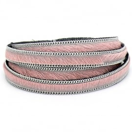 DQ professional platte leerband 10mm breed, 20cm lang vacht lichtroze met ketting (PL10-HLSCP-11)
