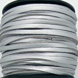 imitatie suede veter 3mm breed - 2m lang - kleur silver leer/suede (BSL-3-19)