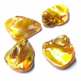 schelp kraal platte onderkant grillige bovenkant kleur parelmoer oranje 14x17mm (BJSC030)