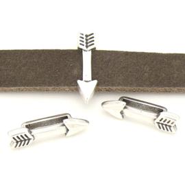 DQ metaal schruifkraal pijl voor 10mm breed leer. Maat 5x20mm gat 10x2.5mm (B04-162-AS)