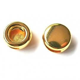 DQ metaal GOLD schuifkraal rond voor 10mm breed plat leer (B04-043-SG)