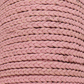DQ plat gevlochten soft leather 6mm breed kleur vintage baby pink - 20 cm (BPGL-06-13)
