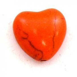 keramiek bolle hartvorm kraal 15mm kleur oranje (BJ605)