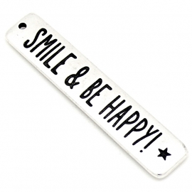 "DQ metaal bedel met tekst ""smile and be happy"" maat 10x50mm (B02-155-AS)"