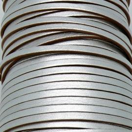soepele lederen band smal 5mm - dik 2mm - kleur metalic zilver - 20cm (PL05-020)