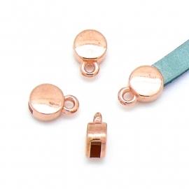 DQ metaal ROSE GOUD eindkap 7x11mm voor 5mm plat leer (gat 2x5mm) (B06-028-RG)
