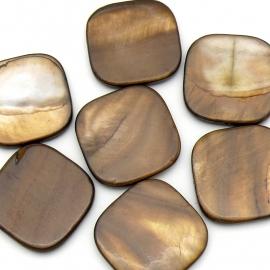 schelp kraal vierkant 25mm kleur parelmoer donkerbruin (BJSC061) -1 stuk
