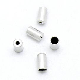 DQ metaal eindkap voor 3mm rond leer met gaatje - maat 4x7mm - gat 3mm (B06-046-AS)