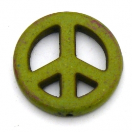 BJ830 keramiek kraal peace 25mm kleur mosgroen
