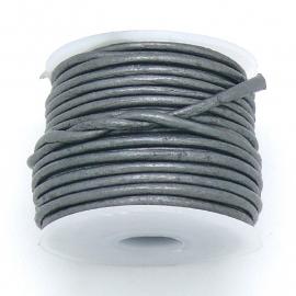 DQ rond leer 1,5mm - 1 meter - kleur metalic dark silver (BRL-01-28)