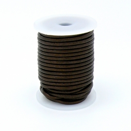 DQ rond leer 3mm - 1 meter - kleur DARK BROWN (no. 03/09)