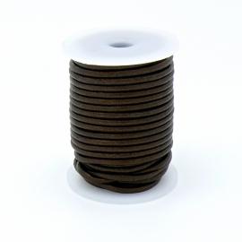 DQ rond leer 3mm - 1 meter - kleur DARK BROWN (no. 03/09)