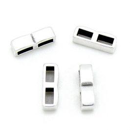 DQ metaal schuifkraal dubbele rij voor 5mm plat leer - maat 5x15mm - gaten 2,5x5mm (B04-186-AS)