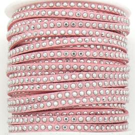 imitatie suede veter 3mm breed met zilveren studs - lengte 1m - kleur roze (LW-M001-12)