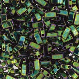 HTL-0306 Miyuki Half Tila 5x2,3mm - 5 gram - kleur olive green gold luster