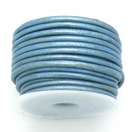 DQ rond leer 3mm - 1 meter - kleur metalic ice blue (BRL-03-29)