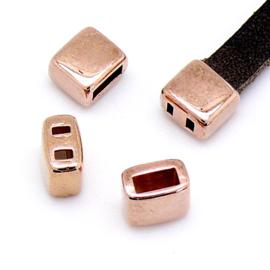 DQ metaal ROSE GOUD eindkap met 2 gaten voor 5mm breed leer maat 7.5x6.6mm - gat 2x5mm (b06-038-RG)