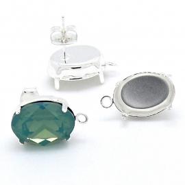 oorbel oorsteker met oogje voor swarovski ovaal 10x14mm SPL per paar (AB51484)