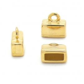 DQ metaal GOUD eindkap 14x14.5mm (gat 4x10mm) (B06-032-SG)