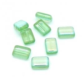 (BJG-029) glaskraal rechthoek 7x12mm kleur peridot AB - 8 stuks
