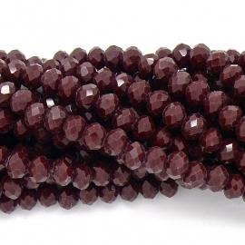 glaskraal rondel facet 4x6mm - streng van ongeveer 100 kralen (BGK-005-037) kleur dark red coral