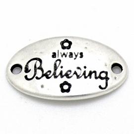 """DQ metaal tussenzetsel met tekst """"always Believing"""" 18x32mm (B03-039-AS)"""