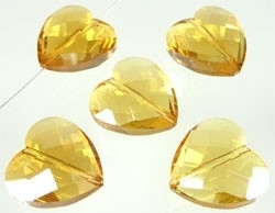 glaskraal geslepen hart geel 18mm (2 stuks) (SD6155)