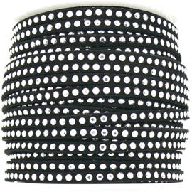 imitatie suede veter 3mm breed met zilveren studs - lengte 1m - kleur zwart (LW-M001-08)