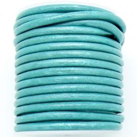 DQ leer 4mm rond  (1 meter) kleur Metallic Turquoise (BRL-04-08)