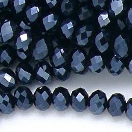 glaskraal rondel facet 6x8mm kleur metalic hematite (BGK-006-013) - 35 stuks