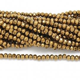 glaskraal rondel facet 3x4mm - circa 148  kralen (BGK-004-009) kleur Metalic Gold