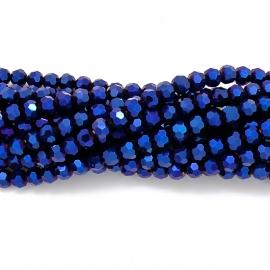 glaskraal rond facet 6mm - streng van ongeveer 100 kralen (BGK-002-011) kleur metallic blue