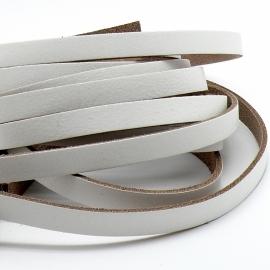 DQ leren band breed 10mm - 2,4 dik 100cm lang - kleur wit (PL10-006)