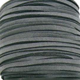 imitatie suede veter 3mm breed - 2m lang - kleur donker grijs (BSL-3-29)