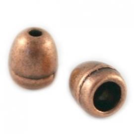 DQ metaal KOPER eindkap met gat voor 4mm rond leer (BK6169)