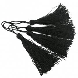 satijn kwastje 12cm lang (zelf afknippen op gewenste lengte!) kleur zwart (BSK-12-03)