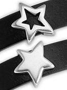 DQ metaal schuifkraal ster voor 10mm breed leer (gat 2,5x10mm) (B04-010-AS)