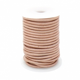 DQ rond leer 3mm - 1 meter - kleur METALIC POWDER ROSE (no. 03/14)