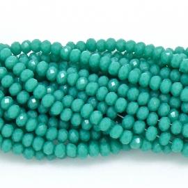 glaskraal rondel facet 3x4mm - circa 148 kralen (BGK-004-032) kleur turquoise green