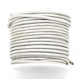 DQ rond leer 1,5mm - kleur Silver Grey - 1 meter (BRL-01-33)
