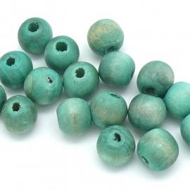 houten kraal 12 mm kleur turquoise (BHK-12-01) - 20 stuks