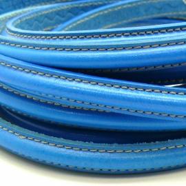 dubbel gestikt half ovaal leer met tunnelbuis 5x10mm - kleur felblauw - 20 cm