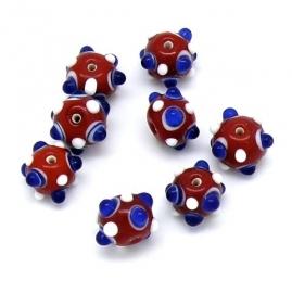 glaskraal rond met dots rood/wit/blauw 10x13mm (BJR012)