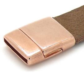 DQ metaal ROSE GOUD magneetsluiting voor 15mm plat leer, gat 2x15mm (B07-095-RG)
