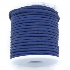 DQ rond leer 2mm - 1 meter - kleur vintage dark blue (BRL-02-31)